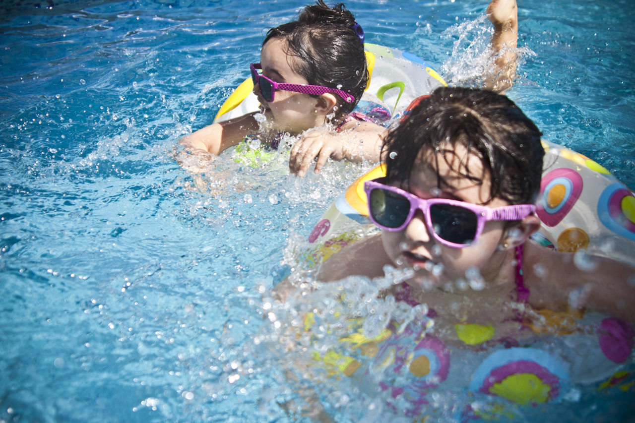 Kids Swimming with Sunglasses 1280×853