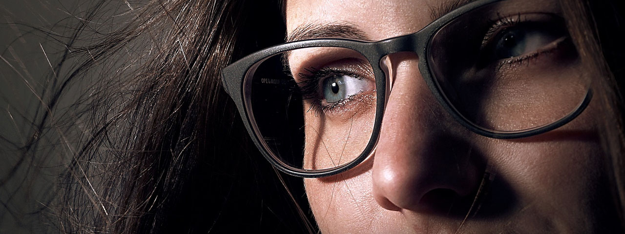 Closeup of woman wearing glasses