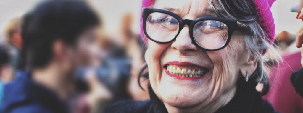 Elderly Woman Hat Glasses 1280×480