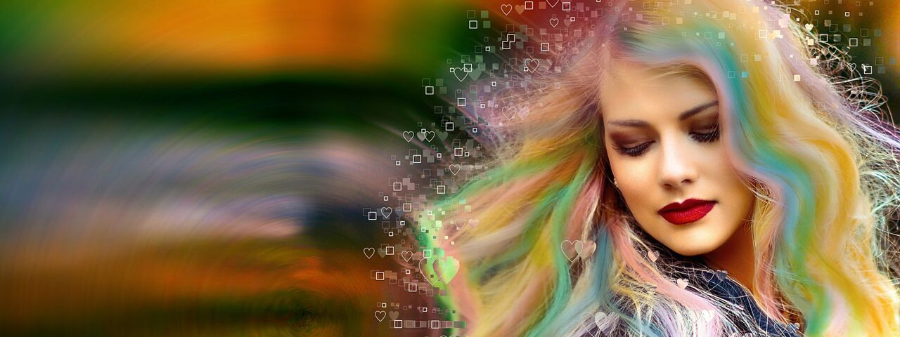 Girl Abstract Colorful Hair with Astigmatism