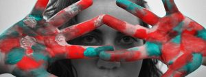 Girl Colorful Painted Hands 1280x480
