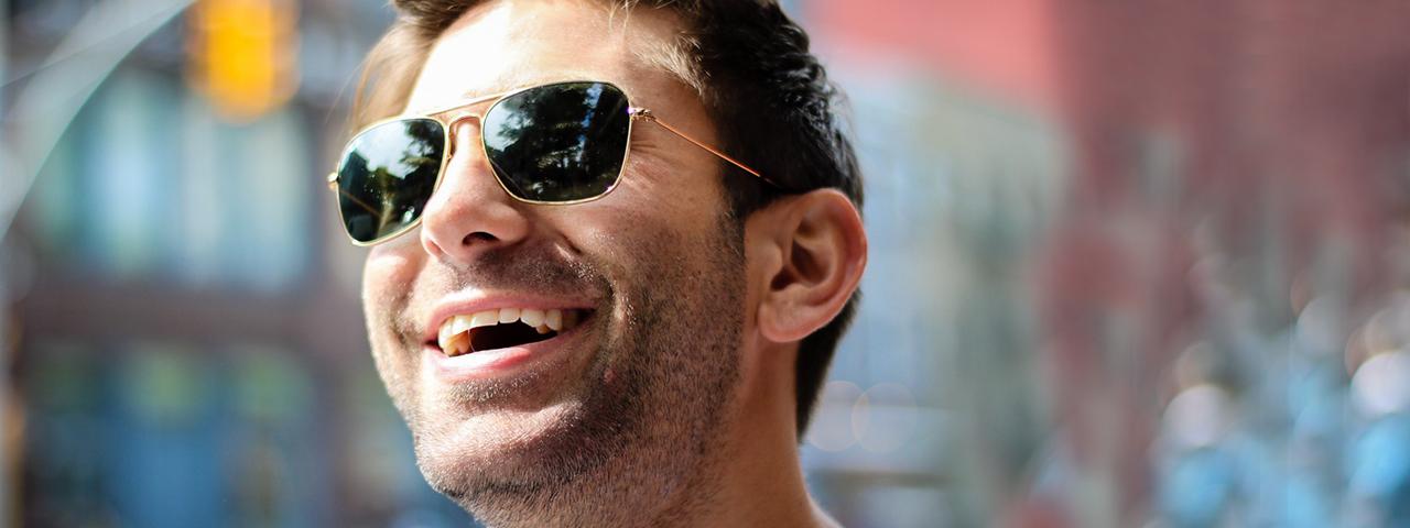 Man Happy Sunglasses 1280x480