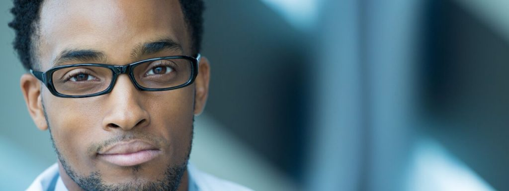 African-American man glasses