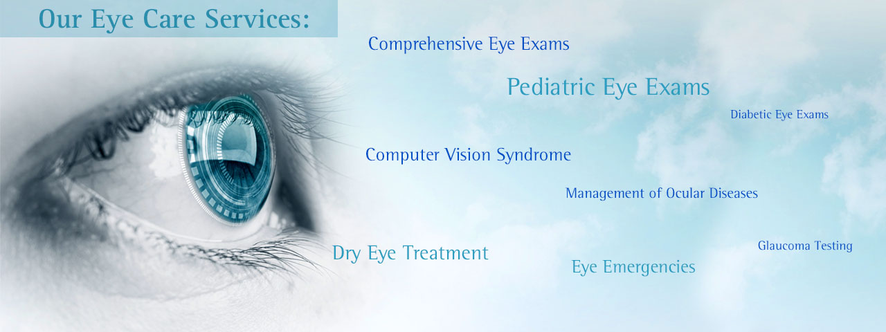 Close-up of eye, with list of eye care services in Pittsburgh