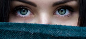 Woman Eyes Scarf Over Face 1280x480 330x150
