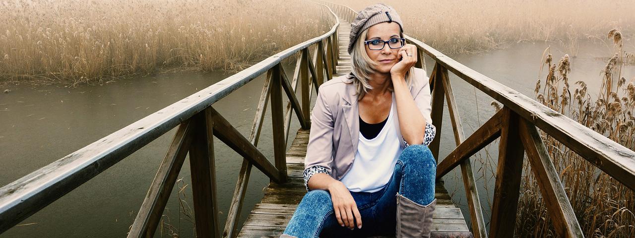 Woman Glassing Sitting Bridge, Optometrist, Akron, OH