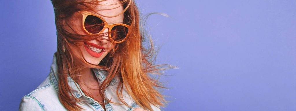Woman Sunglasses Hair Blowing 1280x480