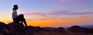 Woman Mountain Sunset 1280x480