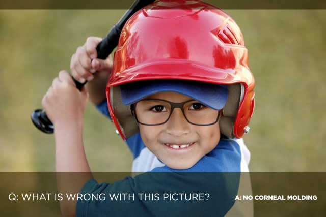corneal molding baseball boy with glasses