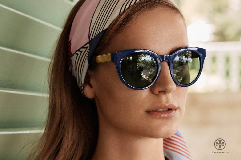 Tory Burch brand sunglasses on woman