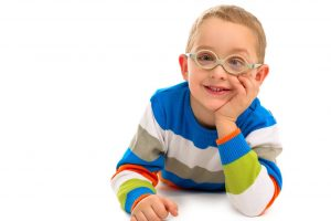 Cute smiling boy with glasses