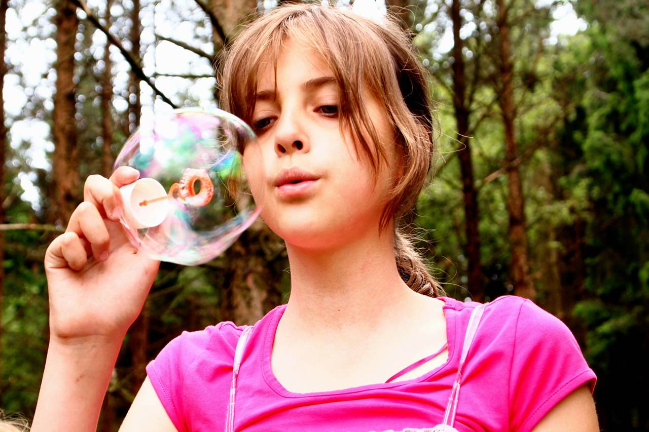 Girl Pink Blowing Bubble