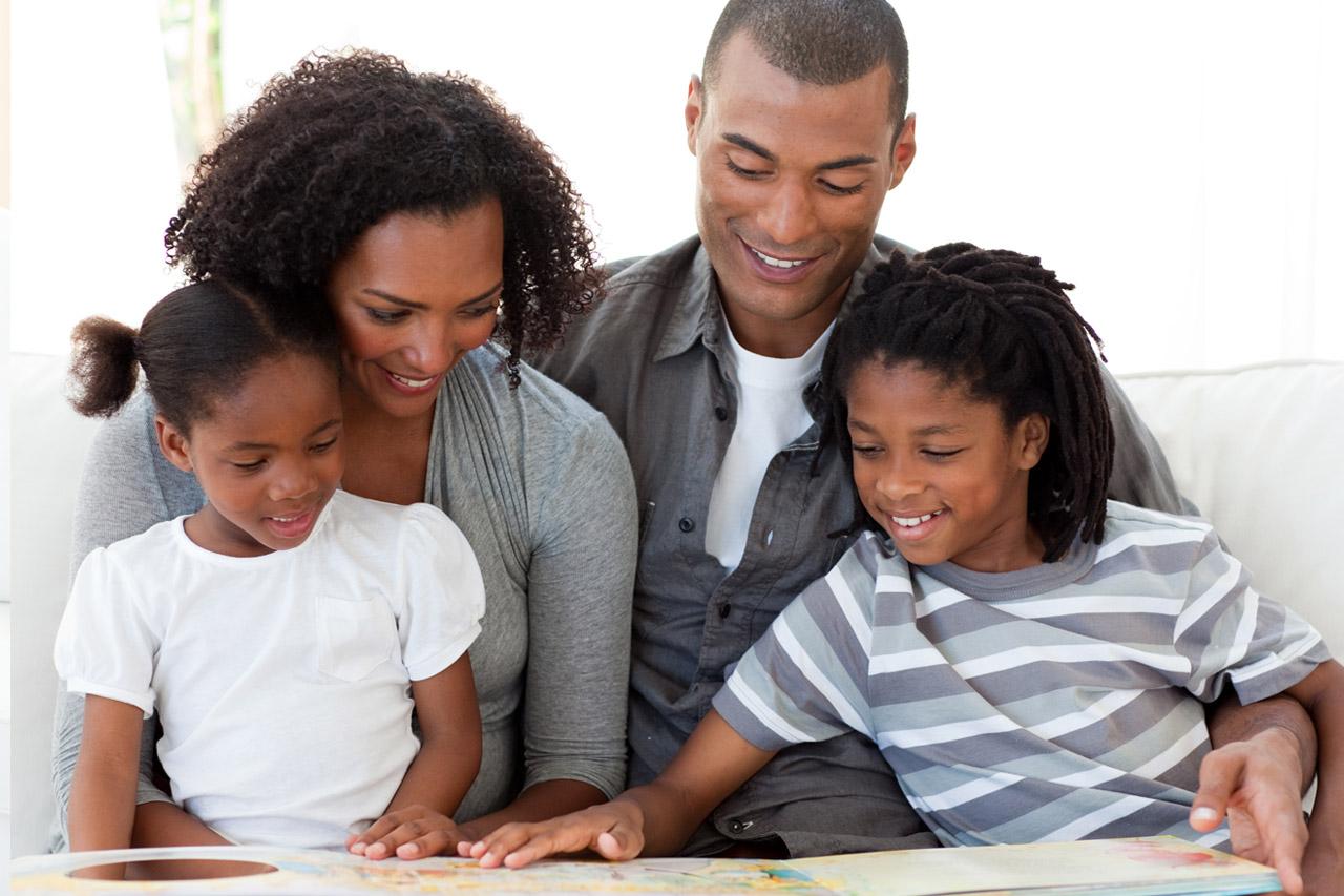 Happy Family Reading Book 1280×853