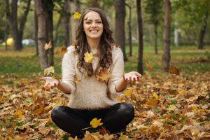 Happy Girl Autumn Leaves 1280x853