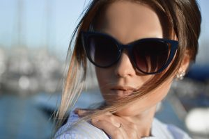 Woman Blue Sunglasses