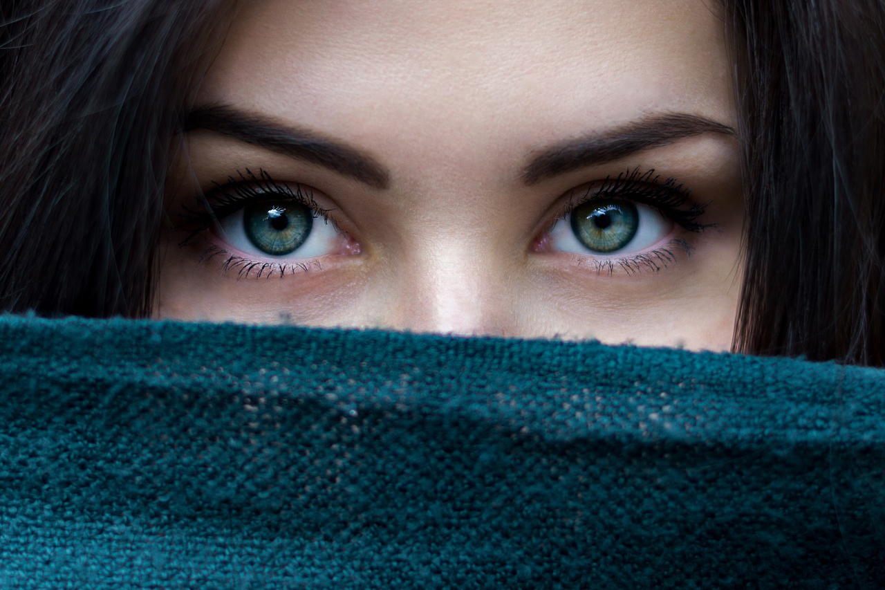 Woman Eyes Scarf Over Face 1280x853
