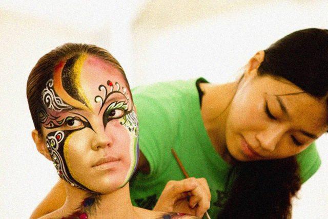 asian face painting beautiful girl