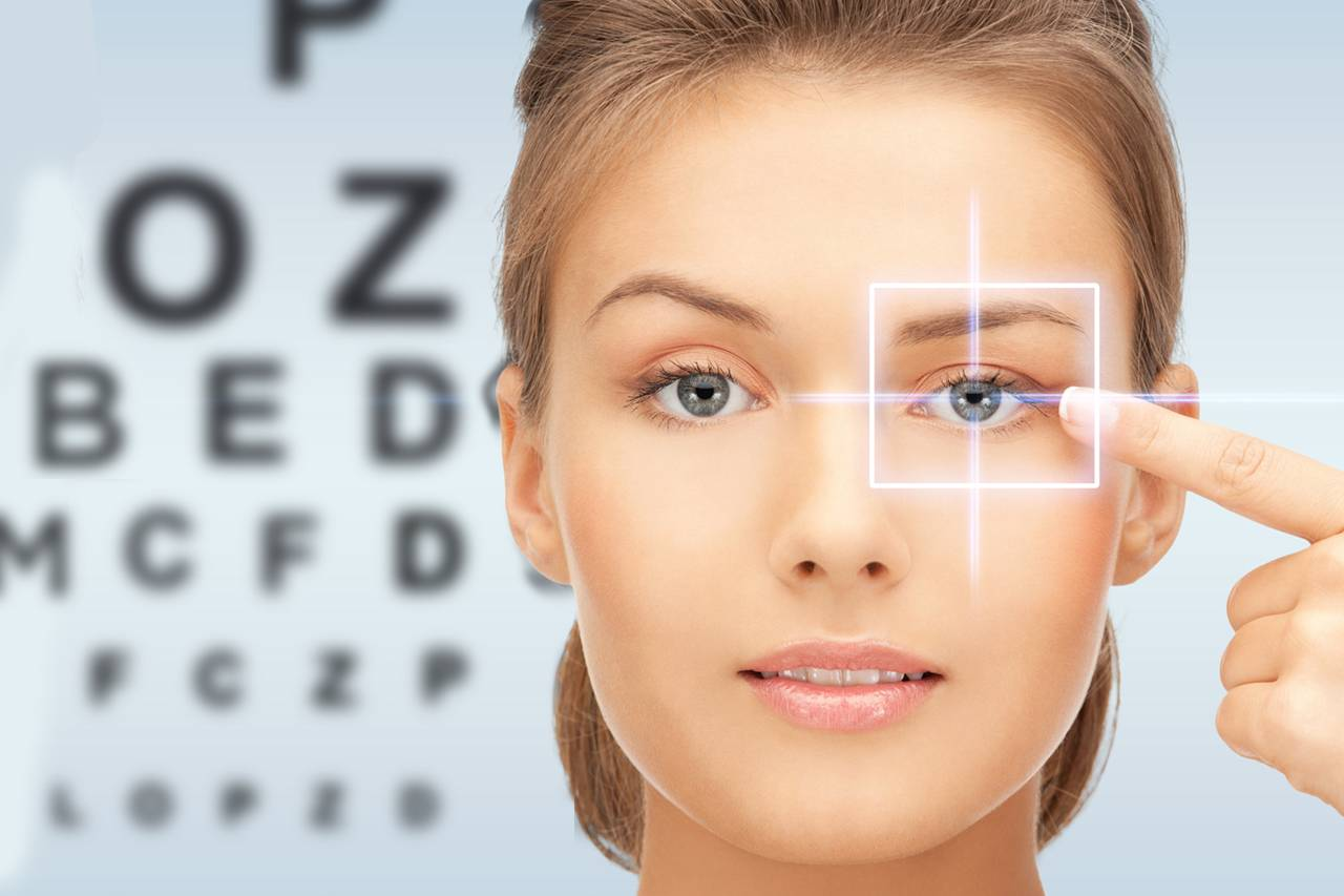 Woman standing in front of eye chart, illustrating eye exam in Madison, NJ