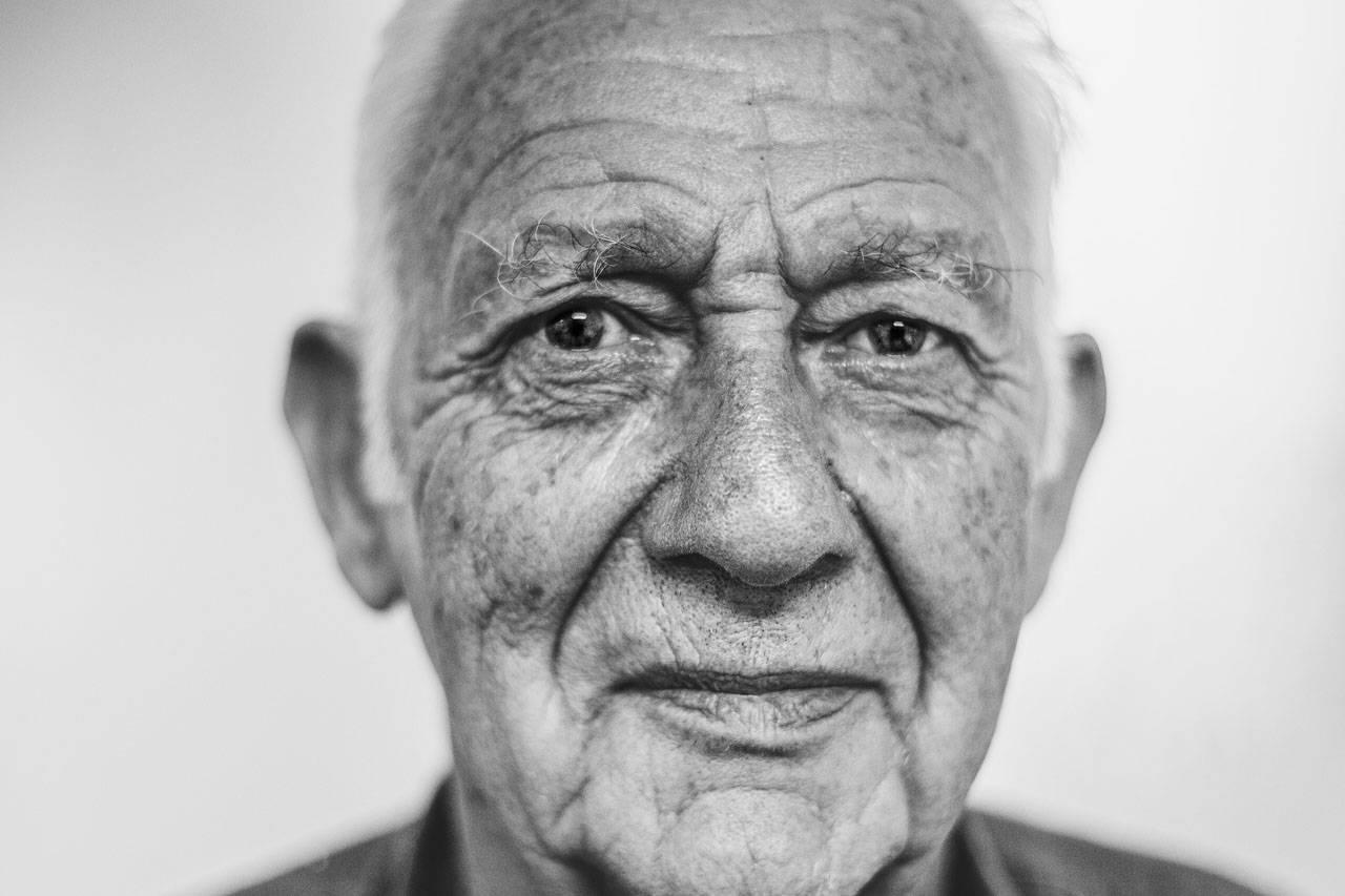 eyes senior man caucasian bw