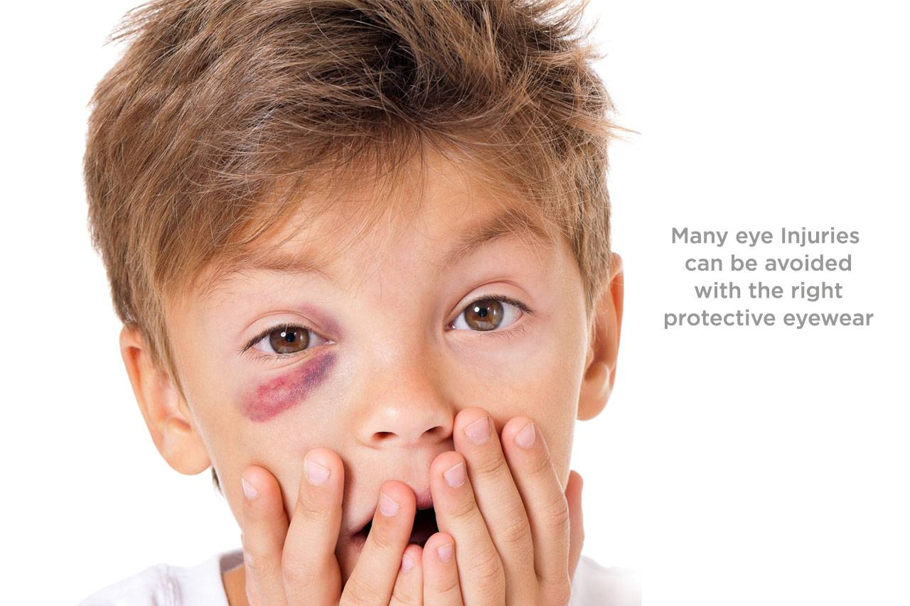 boy with eye emergency - Many eye injuries can be avoided with the right protective eyewear