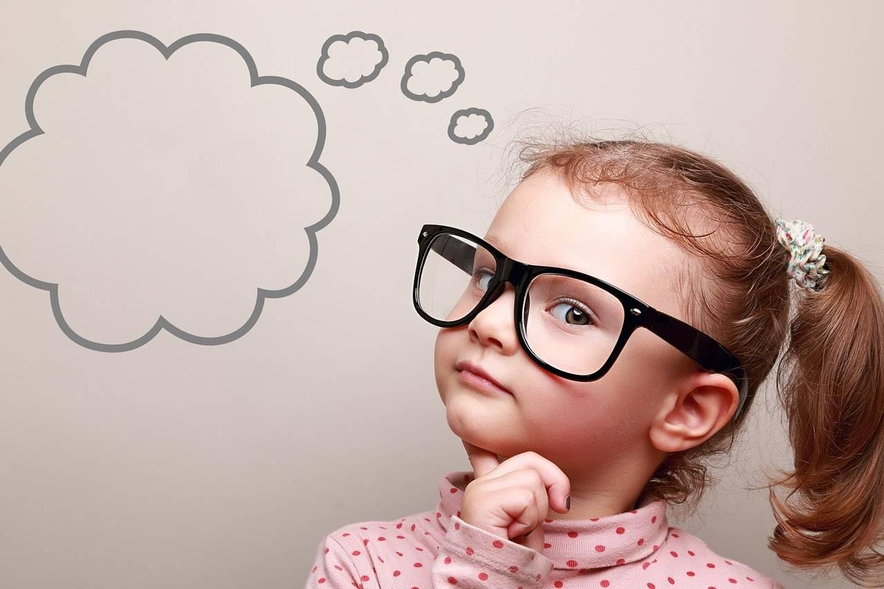 glasses cute child thinking bubble