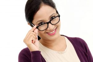 glasses woman smiling hispanic