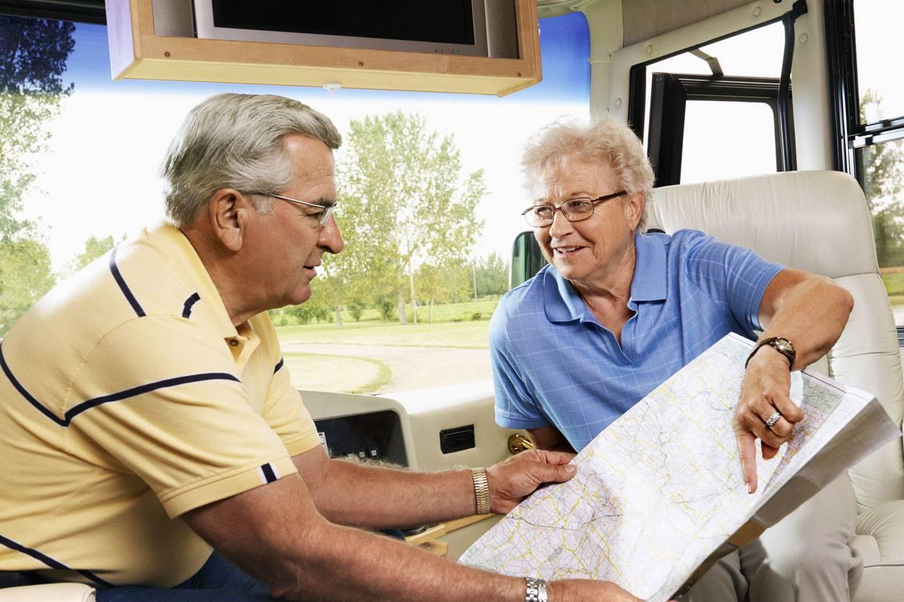 glasses senior man woman camper