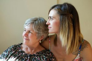 Older Woman with Low Vision, Posing with Adult Daughter
