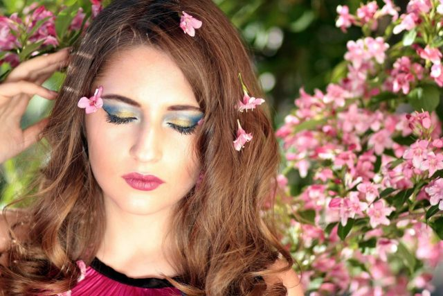 spring woman flowers eyes closed