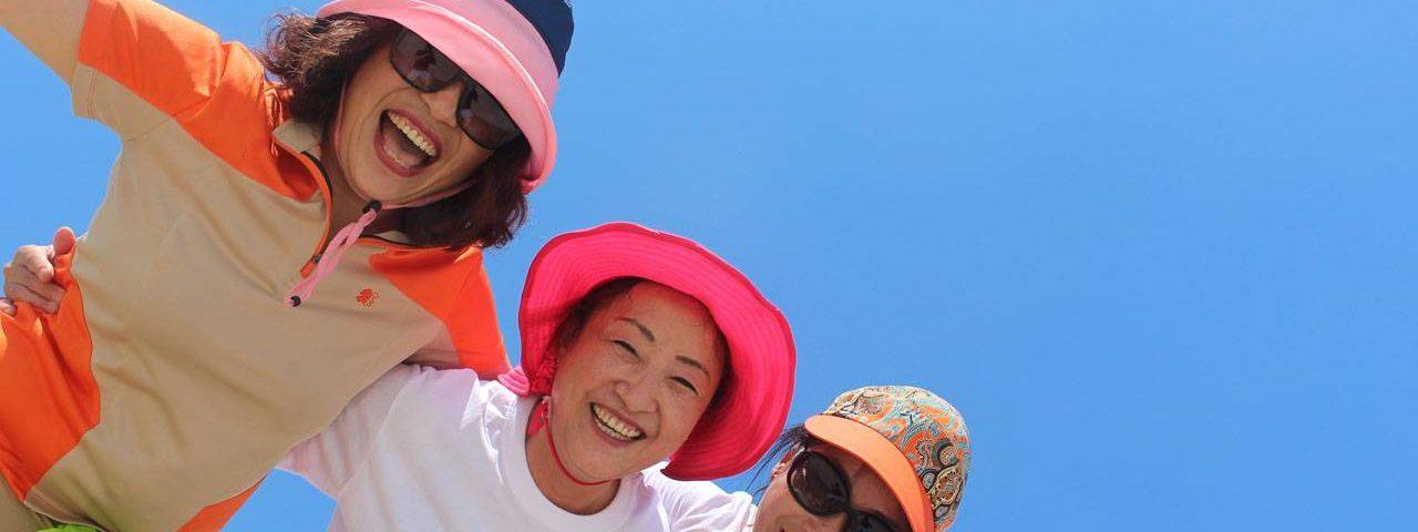 sunglasses asian senior woman happy