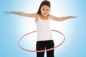 Girl spanish hula hoop blue