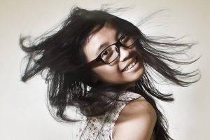 Happy Girl Flippig Hair Glasses designer frames Madison, NJ