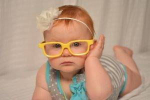 baby girl yellow glasses