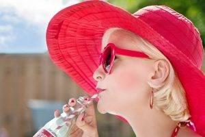 sunglasses american woman sunhat