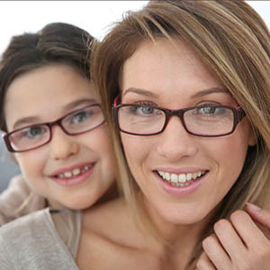 mother and daughter with eyeglasses