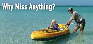 Glaucoma Focal Image with man pushing child on raft and text: why miss anything?