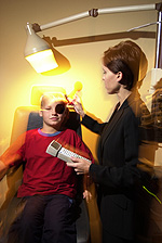 Eye doctor, boy at an eye exam in Hillsboro, MO