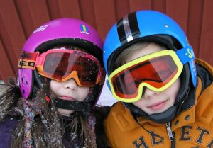 Eye doctor, children wearing ski goggles in Browns Mills, NJ