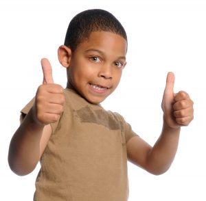 thumbs up child