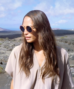 Model wearing Mykita sunglasses