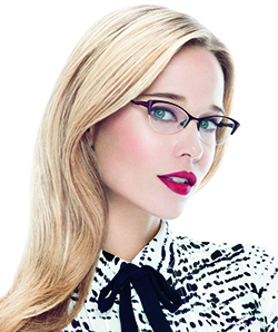 Model wearing Lulu Guinness eyeglasses