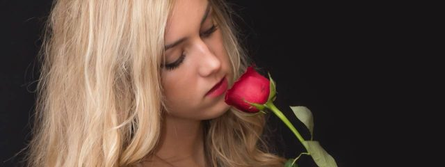 Girl Holding Red Rose 1280x480