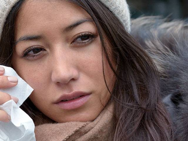 Woman withTeary Eyes in Winter