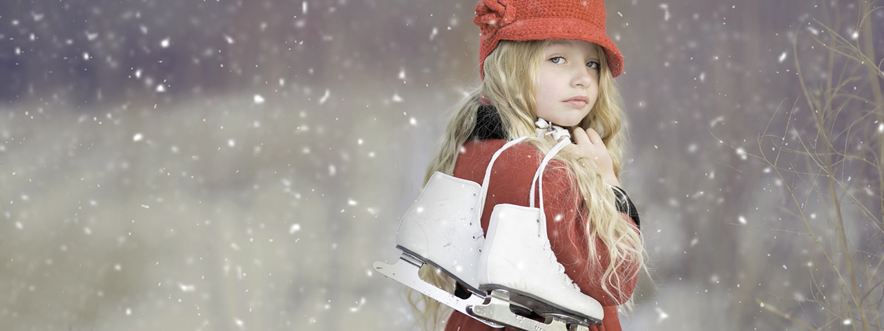 Young Girl Snow Ice Skates <center><b>Spectrum Vision Clinic - Optometrists in Fredericton, NB</b></center>