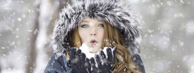 Young Pretty Woman Blowing Snow 1280x480