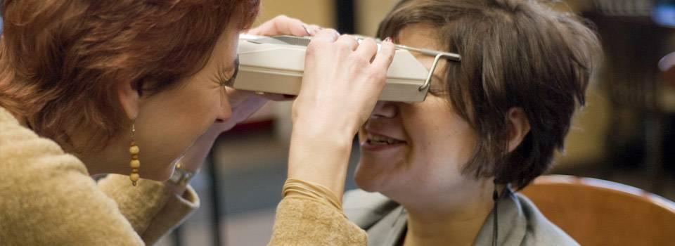 Woman getting eye exam in Temecula, CA