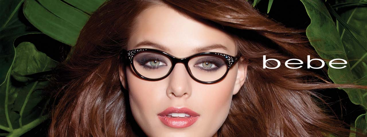 Woman wearing stylish bebe glasses