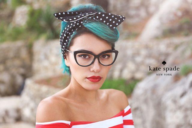 Woman wearing Kate Spade eyeglasses