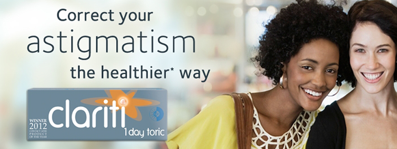 Clariti 1 Day Toric Professional Contact Lens Fittings. DR. ELLIS R. JONES AND ASSOCIATES in Fort Worth, TX
