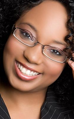 african american woman wearing black glasses